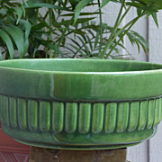 Vintage Haeger Green Ribbed Round Planter