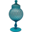 Footed Pedestal Mid Century Blue Optic Glass Circus Tent Lid Candy Jar