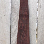 Suede Leather Flame Embossed Dark Brown Men's Tie