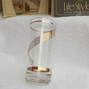 SALE 8 NIB Vintage Gold Gilt 15oz Libby Crystal Tumblers
