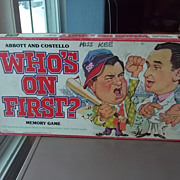 Vintage 1978 Abbott and Costello Who's On First? Board Game