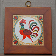 Vintage Circa 1960 Berggren-Trayner Swedish Folk Art Tile Wall Hanging