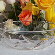 "Signed Stuart England 8"" Crystal Bowl Simple Flowing Leaf Design"
