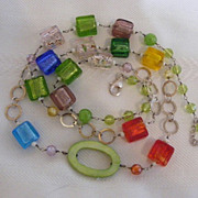 Fun Confetti Sterling Silver and Glass Beaded Necklace