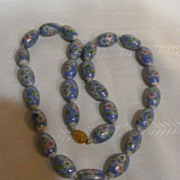 Large Chunky Porcelain Hand Painted Beaded Necklace