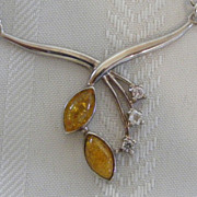 Vintage Sterling Amber Necklace
