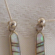 SOLD Sterling Silver Opal Inlay Earrings