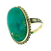 14K Gold Antique Art Deco Chrysocolla Cabochon Enamel Ring