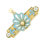 Art Nouveau 9K French Enamel Floral Antique Brooch Pendant