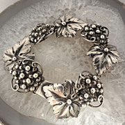 SOLD Silver Fir Munksgaard Grape & Leaf Link Danish Bracelet