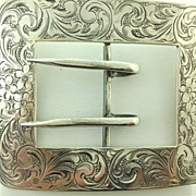 SOLD Antique Sterling Silver Engraved Hand Chased Belt Buckle