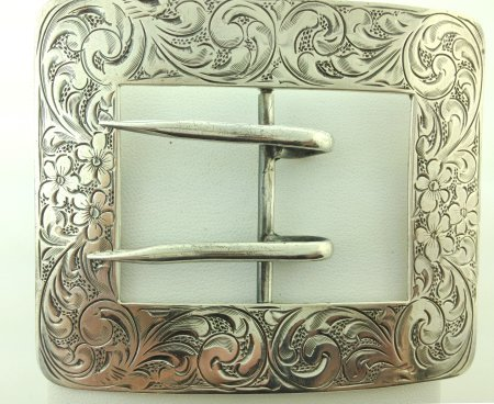 Antique Sterling Silver Engraved Hand Chased Belt Buckle