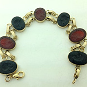 SOLD Antique Victorian Carved Intaglio Roman Soldier Achilles Bracelet