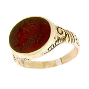 SOLD Victorian Embossed Carnelian Agate Carved Intaglio Ring