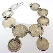 Antique Victorian Love Token Silver Coin Bracelet 1890s