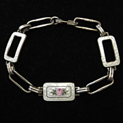 Antique Pink Rose White Guilloche Enamel Sterling Silver Bracelet