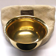 Tiffany & Co. Makers Gold Toned Sterling Silver Bowl 23227 Paris NY London