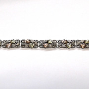 Superb Vintage C.Co 12k Rose Yellow Gold Leaves Sterling Silver Grapes 925 Bracelet CCo
