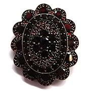 Gorgeous Antique Victorian Rose Cut Pomegranate Red Bohemian Garnet Silver Pendant Brooch Pin