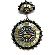 Zuni Sunface with Inlay Turquoise MOP Coral Jet Silver Pin Pendant made by Benji S. Tzuni