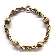SOLD Beautiful Vintage 1/20 12kt  Golf Filled Rope Chain Bead Bracelet