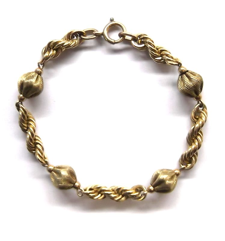 Beautiful Vintage 1/20 12kt  Golf Filled Rope Chain Bead Bracelet