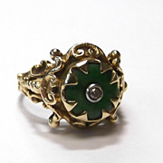 Gorgeous Vtg Nouveau Antique Art Deco Green Jade Diamond 14k Gold Filigree Ring