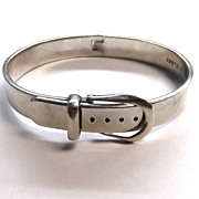 Vintage Mexican Sterling Silver Belt Buckle Bangle TD-14