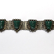 Vintage Mexican Green Onyx Mayan Tribal Mask Sterling Silver Bracelet