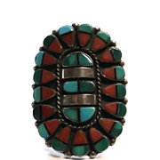 "Amazing Vintage Zuni Inlaid Native American Silver Ring Signed ""B"""