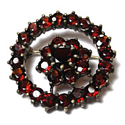 Antique Victorian Bohemain Garnet Silver Gold Gilt Brooch