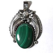 Huge Vintage Navajo J Delgarito Silver Malachite Floral Feather Pendant