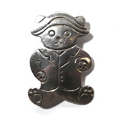 Rare Mexico Taxco Sterling Silver Paddington Bear Brooch