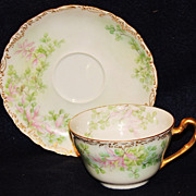Hand Painted Limoges Cup & Saucer with Trumpet Flowers