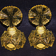 Pair of Gregor Bavaria Yellow Cut Crystal Perfume Bottles
