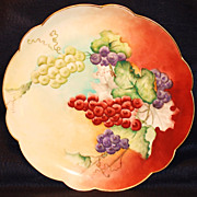 Hand Painted Limoges Charger with Grapes