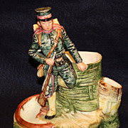 Majolica Soldier Cigar and Match Holder