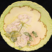 Pretty T & V Limoges White Roses Plate