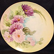 T & V Hand Painted Limoges Charger with Mums
