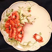 "Beautiful Hand Painted Limoges 13"" Charger with Poppies"