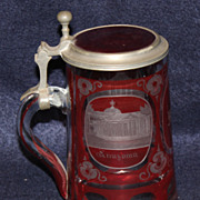 Ruby Cut to Clear Waldbrunn Germany Vintage Stein