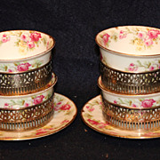 Set of 4 Limoges Rose Ramekins with Sterling Holders Marshall Fields