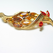 Vintage Rhinestone Amber Orange Topaz Citrine Fall Colors