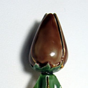 Sandor Chocolate Rose Enamel Brooch