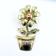 Vintage Daisy Flower Pot Brooch Pendant 3 Tone Metals