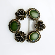 Vintage Brooch Faux Jade Stones Antiqued Gold Tone Roses