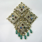 Sarah Coventry  Articulated Rhinestone Brooch Temple Lites 1969
