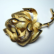 Trifari Rose Brooch Big Bold Gold Tone signed