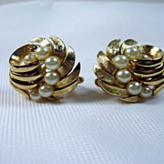 Designer Signed  Earrings Swirl Faux pearls Trifarium Gold Tone