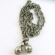 Vintage Chunky Lariat Necklace Silver Tone